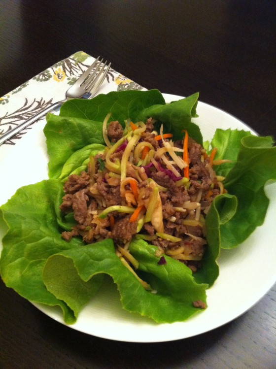Asian Ground Beef, Mushroom, And Broccoli Slaw Lettuce Cups Recipe ...