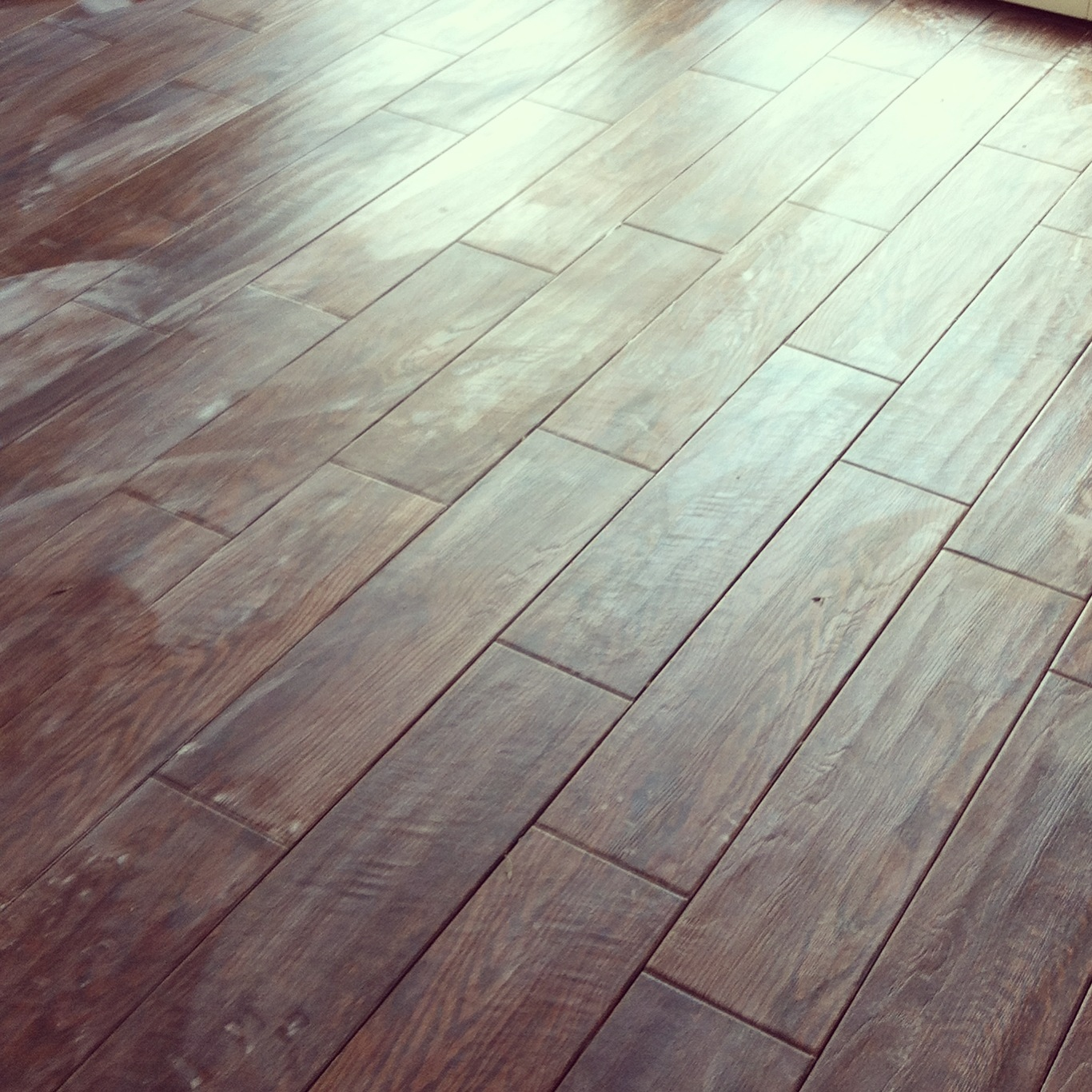 The Flooring Is In. [Wood Porcelain Tile]